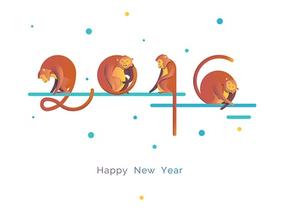 Monkeys 2016 playing with shapes playing monkeys greeting card cartoon fun stylized monkeys happy new year chimps greeting illustration 2016 monkeys