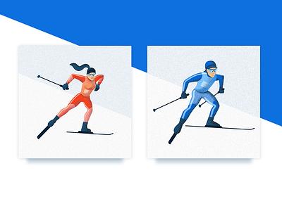 Skiers illustrations for Tour De Ski 2018 male female grain skier fantasy crosscountry skiing illustration tour de ski placeholder