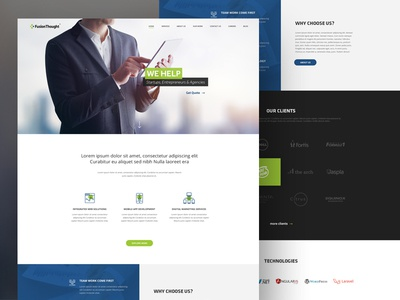 Fusionthought Website Redesign innovative layout website information technology company minimal creative landing page