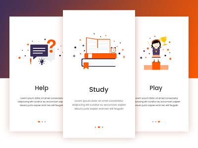 App Guide Screens tutorial help screen onboarding app design ux ui guide screen