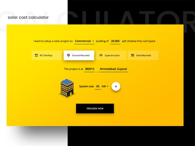 Solar Cost Calculator web design landing page green energy rooftop cost calculator solar ux ui