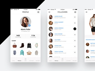 Fashion Circle App UI/UX ux ios app ui minimal black and white apparel app followers profile fashion