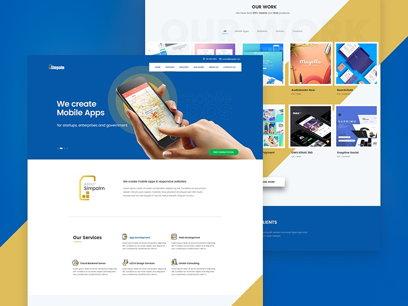 Simpalm Website Redesign information technology layout landing page our work minimal creative web development app development mobile apps redesign website