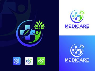Medicare logo | medical Logo |Logo Folio | 2021 business logo logo mark natural logo minimalist graphic design colorful logo abstract leaf medicare medical logo 3d app creative logo brand colors vector icon illustration brand identity branding logo