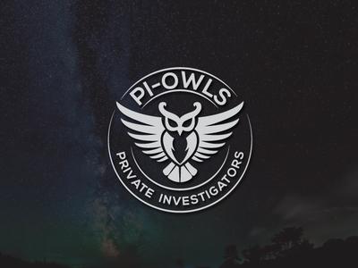 pi-owls vector type flat icon branding logo illustration design