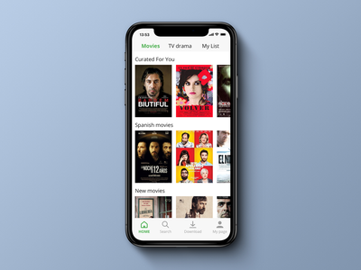 DailyUI 091 Curated For You. spanish dailyui091 movies movie movie app 100 day ui challenge 100 day challenge ui  ux diseño uipractice uidesign sketch app design ui dailyui