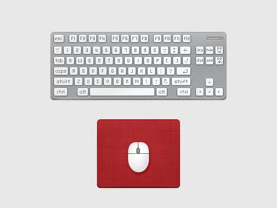 Keyboard & Mouse Icons icons icon keyboard mouse mouse pad grey white red