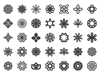 Abstract flower icon set ornament art yoga mandala symbol set icon flower abstract