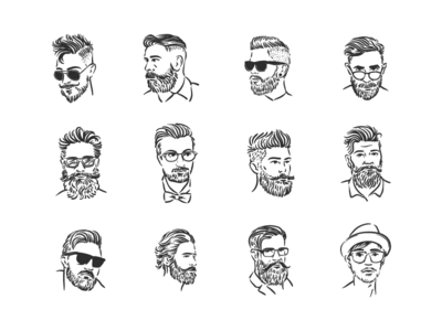 Hipsters Portraits Illustrations