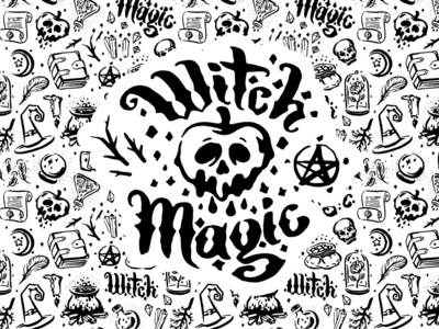 Witch and magic illustration set