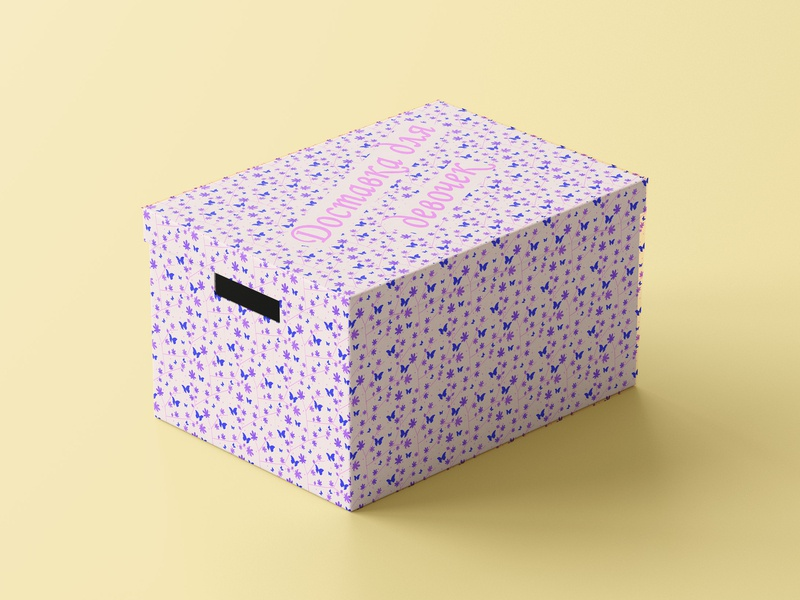 Storage Box pattern pink girlie girls delivery box design illustration vector storaging branding storage box