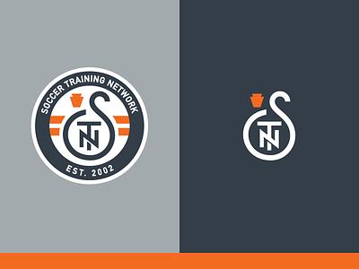 Soccer Training Network logo branding gms soccer pennsylvania keystone monogram crest lettermark stn