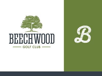 Beechwood green wood grain lettermark golf club gms beechwood golf branding logo