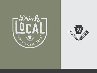 Drink Local PA craft beer brew lettermark crest logo branding keystone pennsylvania gms