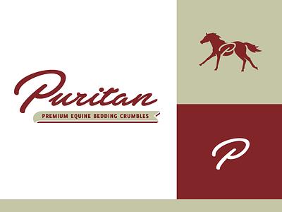 Puritan script p equine maroon puritan horse logo branding gms