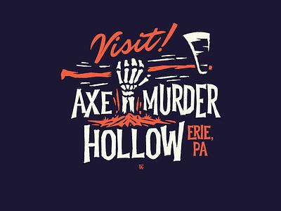 Axe Murder Hollow - Erie, PA type halloween grave axe skeleton