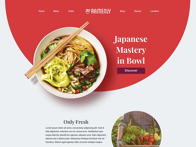 Ramenly - Ramen Restaurant Web Site Design web design ui food restaurant ramen