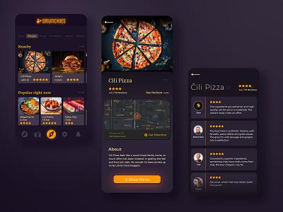 Drunchies food app ui food app interaction design ui  ux mobile app design mobile ui mobile app