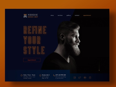 Moonshine Barber Shop case study barber shop barber ui  ux ux design ui design web design