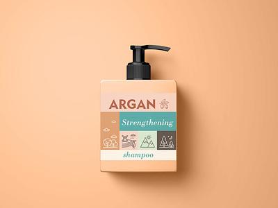 Argan Shampoo graphic design argan shampoo label design packaging design