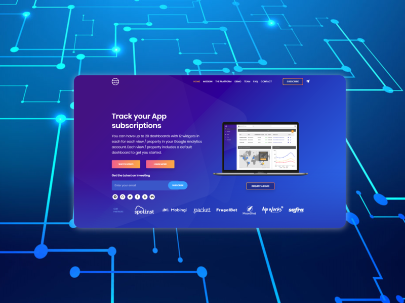 Landing page for a tracking tool ui landing page front end dev front end design front end design