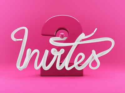 2 Invitations rendered clay cinema 4d typographic typo dribbble invitation invite