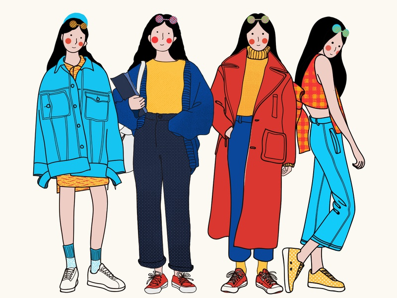 YOU! girls vector line yellow design illustration 插画 blue