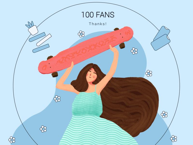 Thanks! girl red blue design 插画 illustration