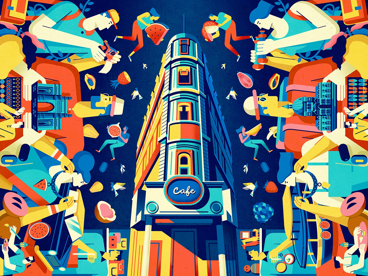 Colaba, Mumbai wall art photoshop vector india indian culture coloful illustration graphic  design design