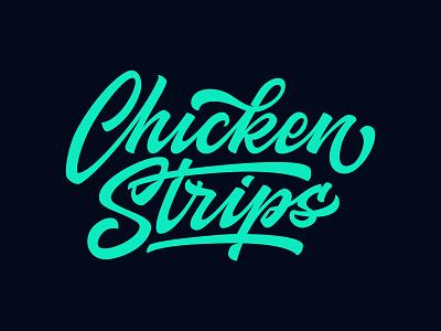 Chicken Strips logo customlettering handlettering typography lettering