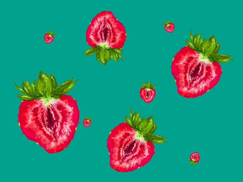 strawberries halves digital drawing photoshop turquoise strawberries strawberry color design illustration
