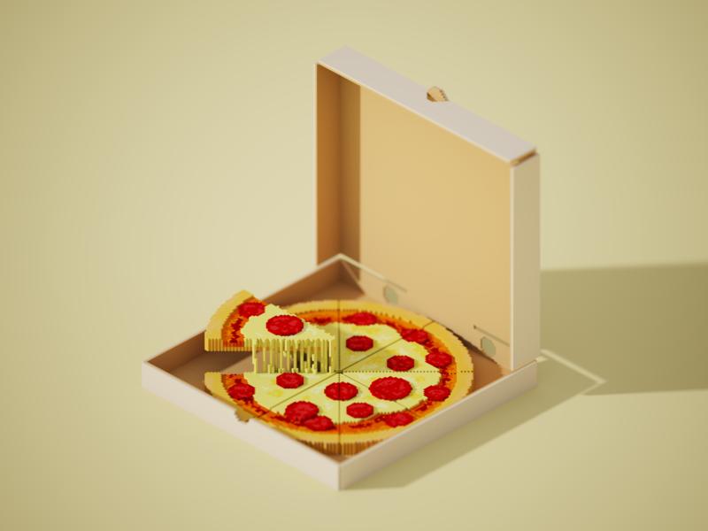 Voxel Pizza yellow minimal digital food voxel art pizza food digitalart voxelart 3d art voxel magicavoxel 3d isometric