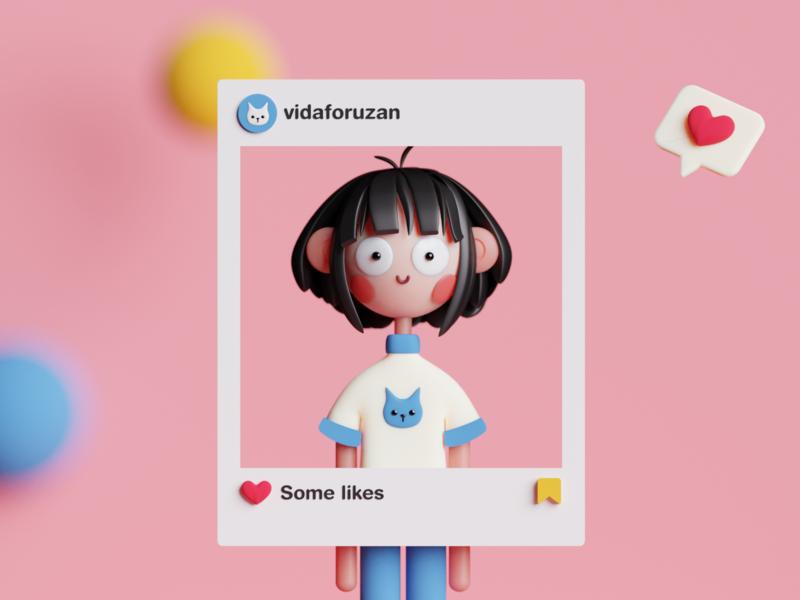 Self-portrait in Blender minimal 3d character characterdesign blender self-portrait 3d art digitalart 3d isometric