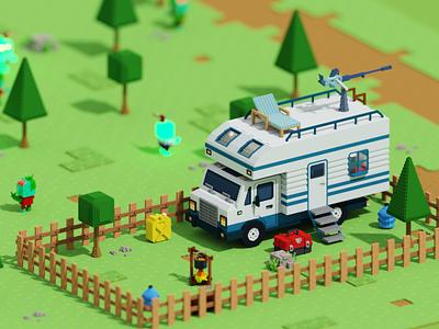 Voxel Game (Truck Level) truck game design game voxel game 3d art voxel digitalart magicavoxel isometric 3d