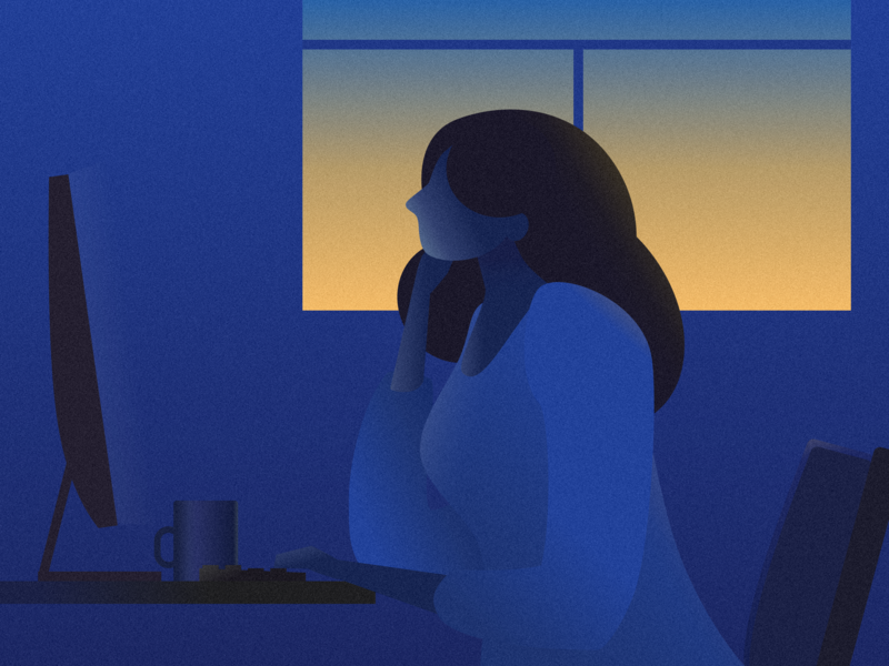 work by the dusk ui work character woman people illustration business website people office design computer