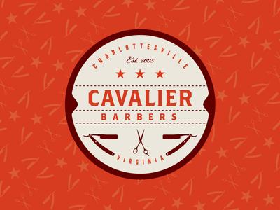 Cavalier Barbers logo barber shop red crest shave shears razor hair circle star vintage