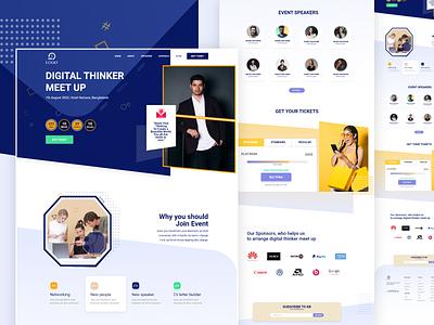 Digital thinker meetup landing page ui ux design. web website ux ui design