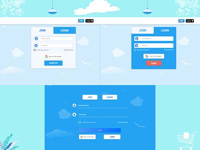 some login pages in new look. app web website ux ui design