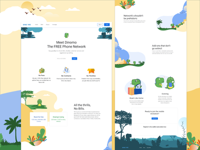 Landing Page For Phone Network dinosaur illustration icon branding website web ux ui design