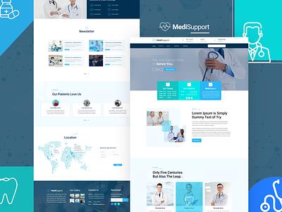 A Clean and Modern Medical Landing Page for Medi-Support. landing page design testimonial map medicine doctor hospital clinic medical illustration branding web website ux ui design
