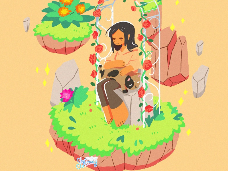 Gardenia magical floating island cat girl arbor flowers garden illustration