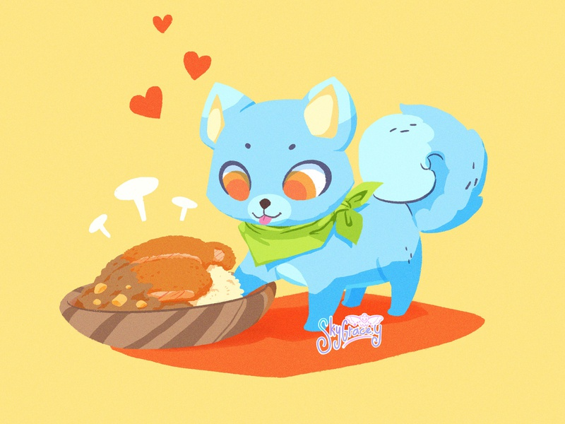 Cutlet Curry hungry orange yellow curry food puppy cute animal dog digital art illustration