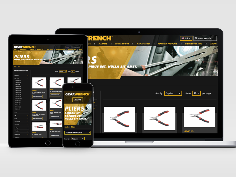 GearWrench Website - Tool type landing page responsive layout sketchapp invisionapp photoshop graphicdesign webdesign ui tools gearwrench