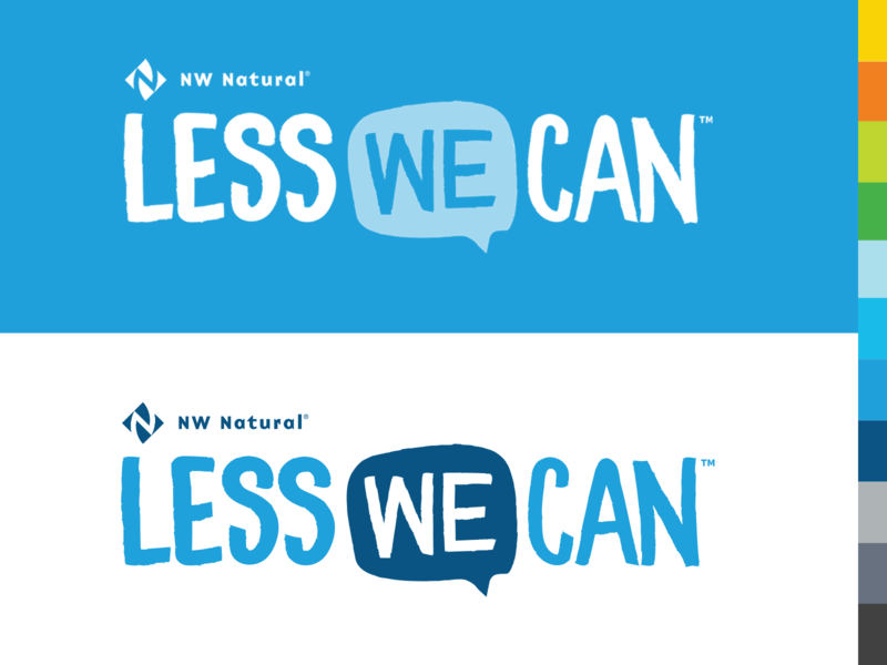 Less We Can branding vector campaign advertising brand standards graphic design pacific north west natural gas agency color palette wordmark logo adobe illustration branding