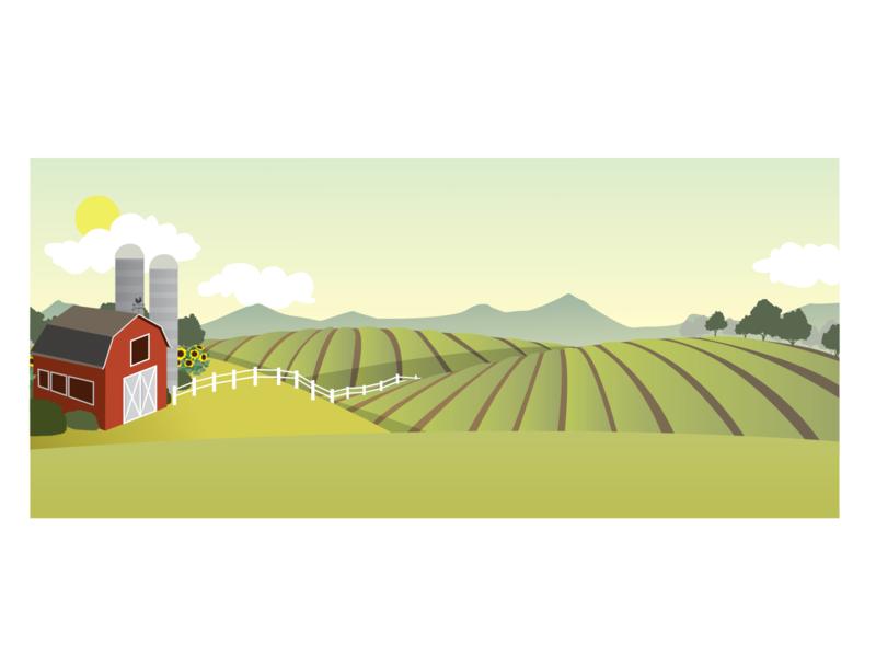 Farmaid - an illustration cute landscape digital art drawing agriculture farmland usa vector illustrator adobe graphic design brand marketing collateral illustration marketing farmaid