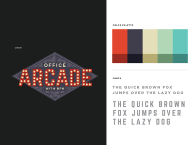 Office Arcade with BPN oregon portland vector illustrator adobe arcade typography color palette advertising branding agency graphic design logo branding