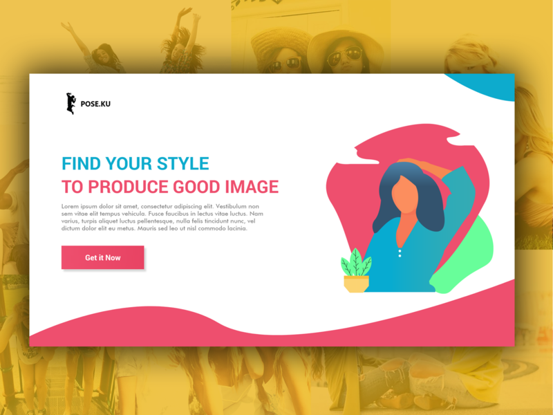 Pose.ku Landing Page ilustrator flatdesign flat webdesign photo style adobeillustration ui vector illustration web photoshop typography design