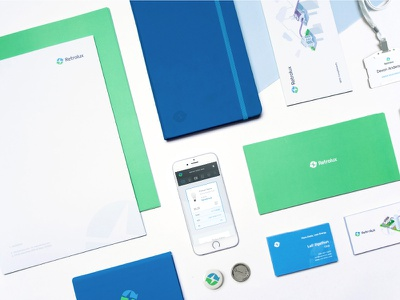 Retrolux Brand Material business card materials brand platform lighting interface design blue green identity