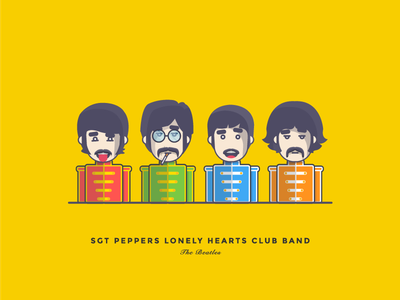 Sgt Peppers Lonely Hearts Club Band cartoon band music characters illustration character george harrison paul mccartney john lennon ringo starr the beatles