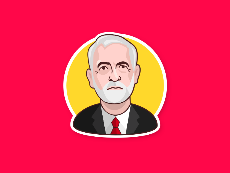 Jeremy Corbyn - The Labour Party emoji sticker profile avatar hero politician trump caricature character man face illustration